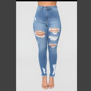 Little miss high rise distressed jeans